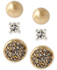 Kenneth Cole New York Two Tone Pave Circle And Crystal Stud Earring Set