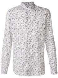 Barba Floral Print Point Collar Shirt White