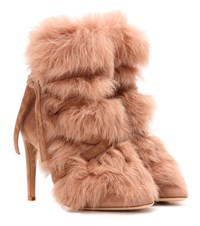 Gianvito Rossi Moritz Fur And Suede Ankle Boots Beige