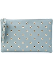 Red Valentino Eyelet Embellished Clutch Blue