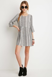 Forever 21 Tribal Print Smock Dress Cream Black