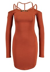 Missguided Jersey Dress Tobacco Light Brown