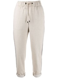 Peserico Elasticated Waist Cropped Trousers Neutrals