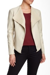 Live A Little Sweater Lapel Pleather Jacket White