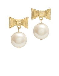 Kate Spade All Wrapped Up Pearls Post Back Drop Earrings Cream Gold