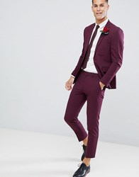 Burton Menswear Muscle Fit Suit Trousers In Burgundy Pink