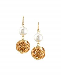Fragments For Neiman Marcus Bead And Simulated Pearl Drop Earrings Gold