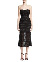 Herve Leger Pailey Strapless Lace Bandage Midi Dress Black Pattern