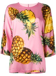 Dolce And Gabbana Pineapple Print T Shirt Pink Purple