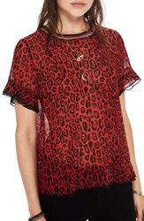 Scotch And Soda Animal Print Top Red Leopard Print