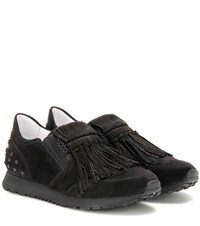 Tod's Sportivo Frangia Suede Sneakers Black