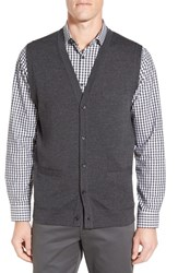 John W. Nordstromr Men's Big And Tall Nordstrom V Neck Wool Button Front Sweater Vest Grey Dark Charcoal Heather