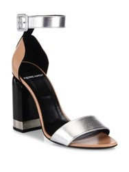 Pierre Hardy Memphis Colorblock Metallic Leather Block Heel Sandals Multi Silver