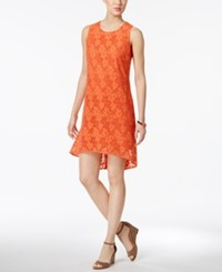 Nine West Floral Current High Low Shift Dress Tango