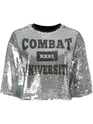 Msgm Sequinned Cropped T Shirt Grey