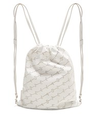 Stella Mccartney Logo Pattern Faux Leather Drawstring Backpack White
