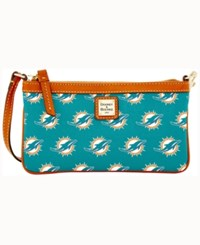 Dooney And Bourke Miami Dolphins Large Wristlet Turquoise