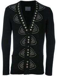 Laneus Studded V Neck Cardigan Black