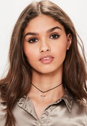 Missguided Black Cross Pendant Choker Necklace