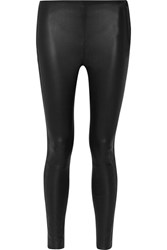 Karl Lagerfeld Suede Trimmed Leather Leggings Black