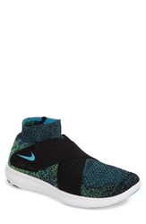Nike Men's Free Rn Motion Flyknit 2 Running Shoe Black Volt Blue Pink