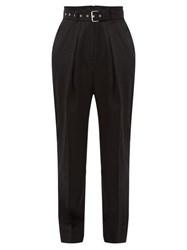 J.W.Anderson Jw Anderson Belted High Rise Wool Twill Trousers Black