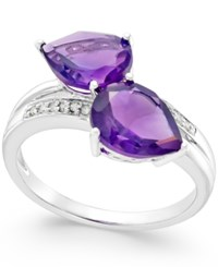 Macy's Amethyst 4 Ct. T.W. And Diamond Accent Statement Ring In 14K White Gold