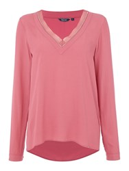 Salsa Long Sleeve V Neck Tunic Pink