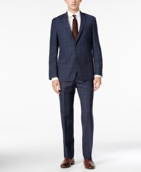 Dkny Men's Slim Fit Blue Tonal Plaid Suit