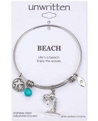 Unwritten Life's A Beach Enjoy The Waves Palm Tree And Surfboard Charm Adjustable Bangle Bracelet Silver