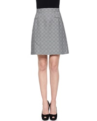 Alexander Mcqueen Glen Plaid Jacquard A Line Skirt Black White