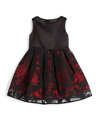 Milly Minis Sleeveless Pleated Organza Dress Red