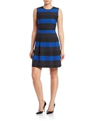 Marc New York Andrew Marc Striped Fit And Flare Dress Electric Blue Black