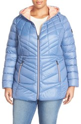Plus Size Women's Bernardo Hooded Down And Primaloft Jacket Dreamy Blue Coral Haze
