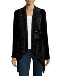 Johnny Was Elsa Velvet Draped Cardigan Women's