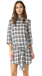 Bb Dakota Claremont Plaid Tie Front Shirt Dress Oatmeal