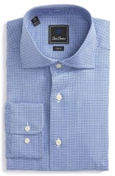 David Donahue Men's Big And Tall Trim Fit Check Dress Shirt Blue