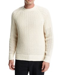 Vince Open Weave Crewneck Sweater Off White
