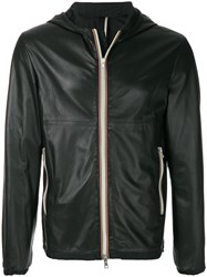 Low Brand Hooded Leather Jacket Black