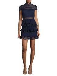 Design Lab Lord And Taylor Ruffled Lace Dress Canvas