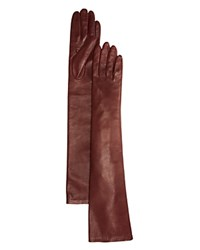 Bloomingdale's Long Leather Gloves Bordeaux