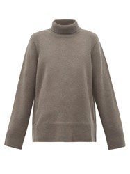 The Row Milina Roll Neck Cashmere Blend Sweater Grey