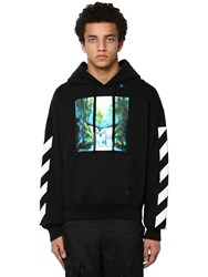 Off White Waterfall Print Cotton Jersey Hoodie Array 0X5794d90