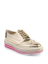 Prada Metallic Leather Brogue Platform Oxfords Gold