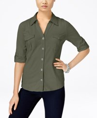 Styleandco. Style And Co. Roll Tab Button Down Shirt Only At Macy's Olive Sprig