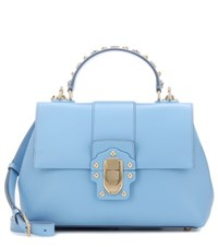 Dolce And Gabbana Lucia Medium Leather Shoulder Bag Blue