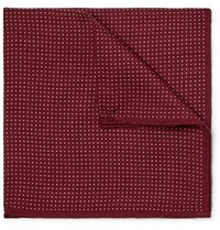 Anderson And Sheppard Pin Dot Wool Silk Blend Pocket Square Burgundy