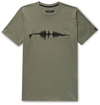 Rag And Bone Sound Wave Embroidered Cotton Jersey T Shirt Green