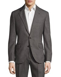 Brunello Cucinelli Pinstriped Classic Fit Two Piece Suit Gray Light Brown