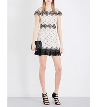 Sandro Peplum Hem Lace Dress Ecru